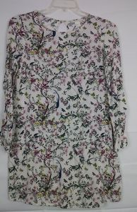 H&M Floral white butterfly & bird tunic size 6
